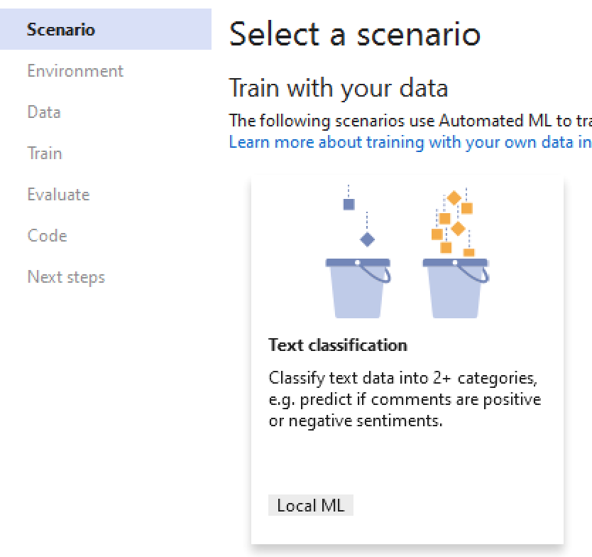 ML.NET Model Builder (Text Classification)