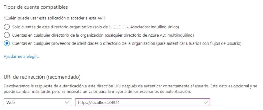 Aplicación Active Directory B2C