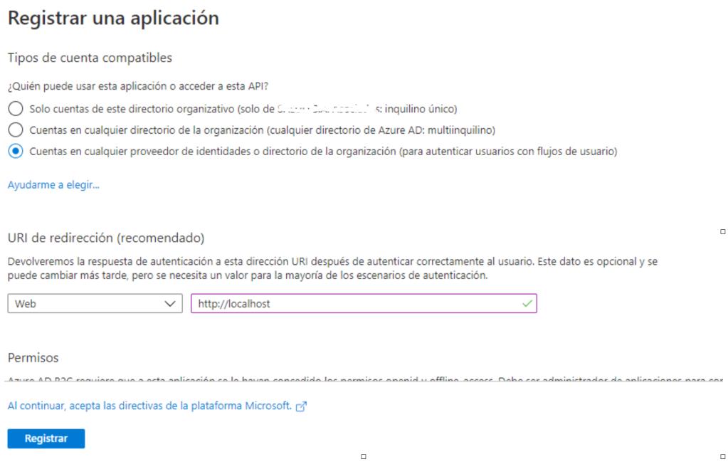 Registro API Active Directory B2C