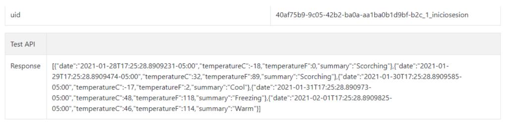 Resultado API Active Directory B2C