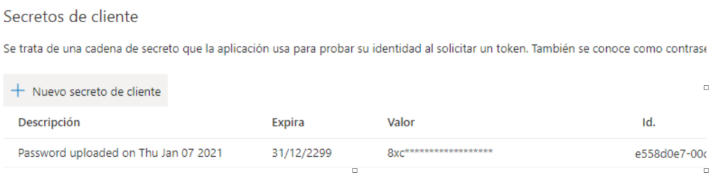 Secreto Active Directory B2C